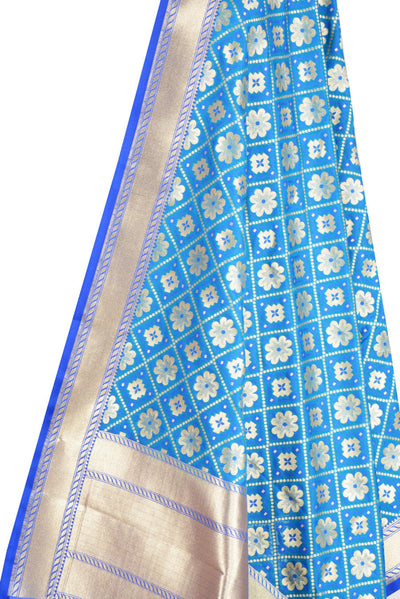 Sky Blue Art Silk Banarasi dupatta with leaf jaal (2) Close up