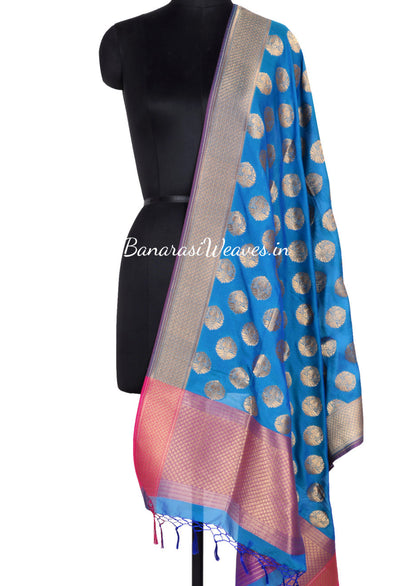 Teal Art Silk Banarasi Dupatta with stylized motifs in gold zari (1) Main