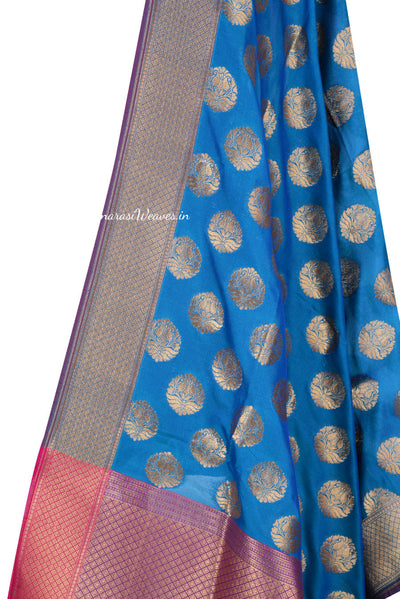 Teal Art Silk Banarasi Dupatta with stylized motifs in gold zari (2) Close up