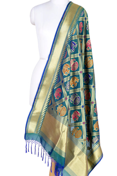 Teal Banarasi Dupatta with big patan patola design (1) Main