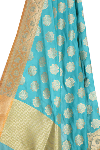 Turquoise Banarasi Dupatta with exquisite flower motifs (2) Close up