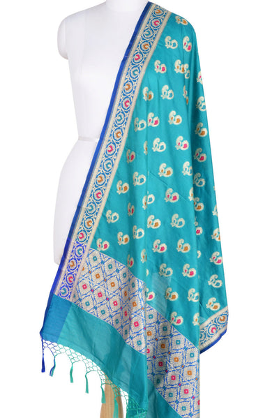 Turquoise Banarasi Dupatta with multi color peacock motifs (1) Main