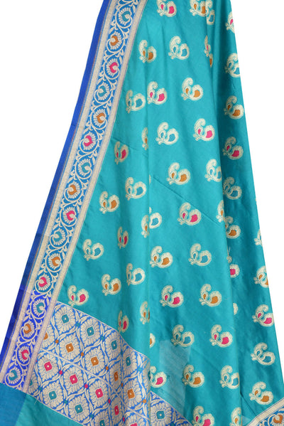 Turquoise Banarasi Dupatta with multi color peacock motifs (2) Close up