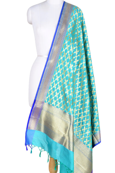 Turquoise Banarasi Dupatta with sharp flower and leaf jaal (1) Main