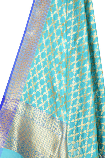 Turquoise Banarasi Dupatta with sharp flower and leaf jaal (2) Close up