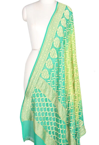 Turquoise Green Khaddi Georgette Handwoven Bandhej Banarasi Dupatta (2) Close up