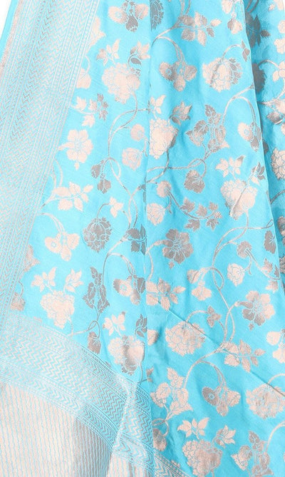 Turquoise Katan Silk Handwoven Banarasi dupatta with flower jaal PCARS05KS16 (2) Close up