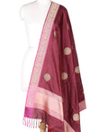 Wine Katan Silk Banarasi Dupatta with flower bunch motifs