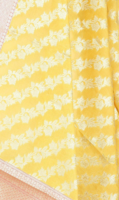 Yellow Art Silk Banarasi Dupatta with diagonal floral jaal PCRVD01N51 (2) Close up