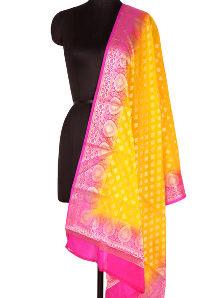 Yellow Art Silk Banarasi Dupatta with mini lotus motifs and leaf border (1) Main