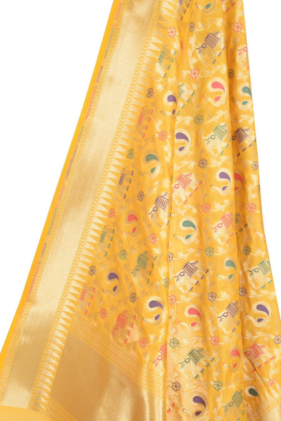 Yellow banarasi dupatta with leaf jaal and animal motif for Interior decoration hsn code gst