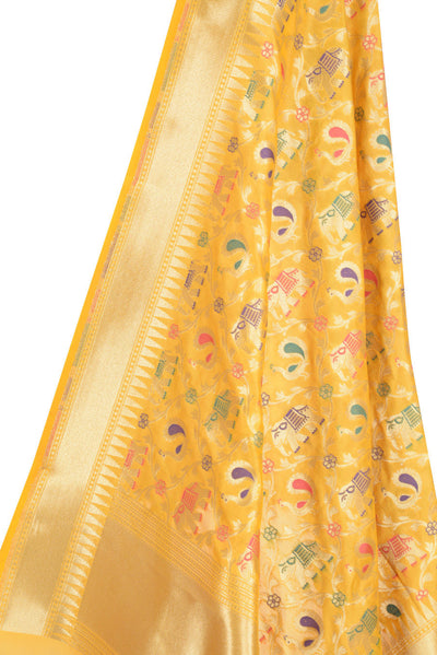 Yellow Banarasi Dupatta with leaf jaal and animal motif (10001901720008YL041) (HSN Code -6214)