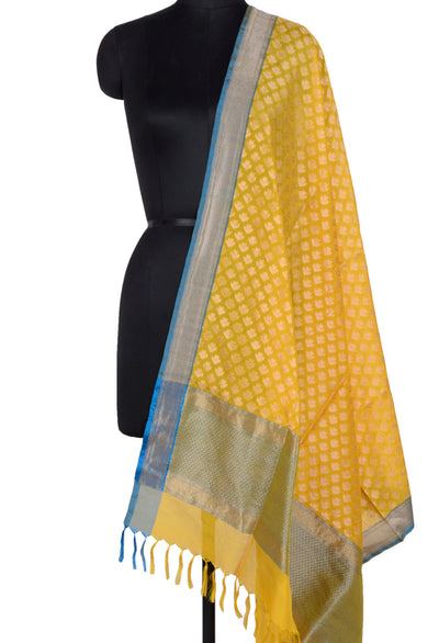 Yellow Banarasi Silk Dupatta with artistic floral booti (1) Main