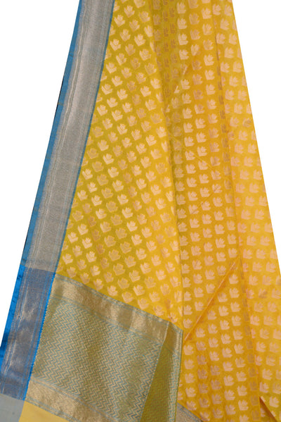 Yellow Banarasi Silk Dupatta with artistic floral booti (2) Close up