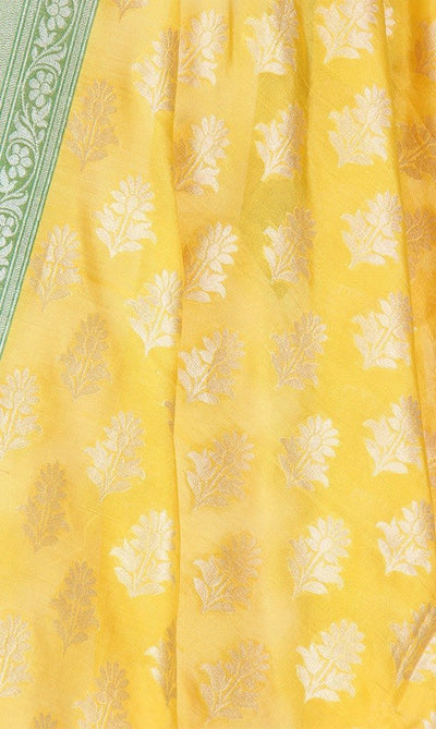 Yellow Banarasi Silk Dupatta with flower motifs PCPBD03S29 (2) Close up