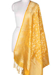 Yellow Katan Silk Banarasi Dupatta with Shikargah jaal