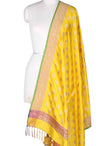 Yellow Katan Silk Banarasi Dupatta with meena flower motifs
