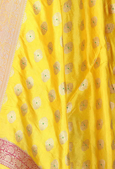 Yellow Katan Silk Banarasi Dupatta with meena flower motifs (2) Close up