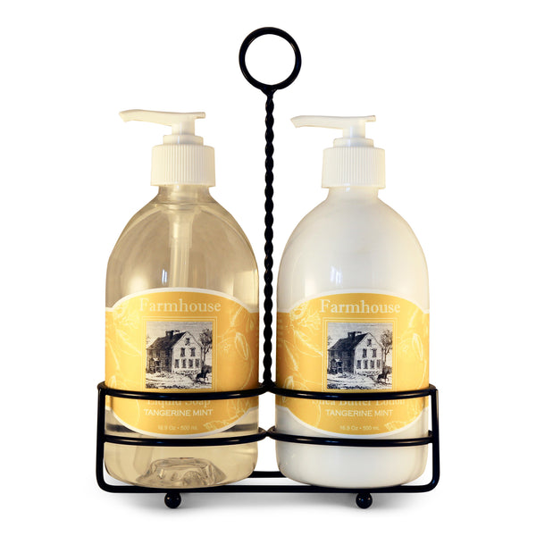 Natural Hand Lotion & Liquid Soap Caddy Set *NEW TANGERINE MINT*