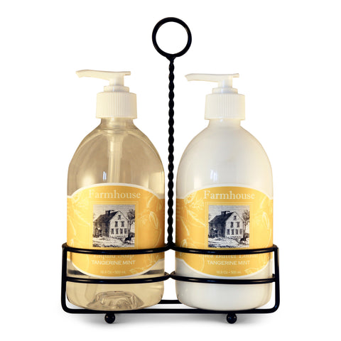 Natural Hand Lotion & Liquid Soap Caddy Set