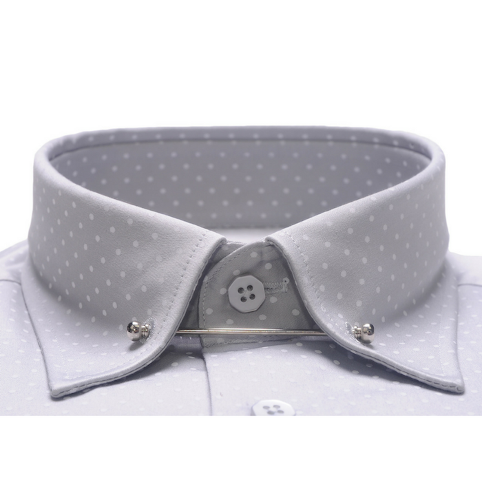 Pin Collar Grey Polkadot Shirt