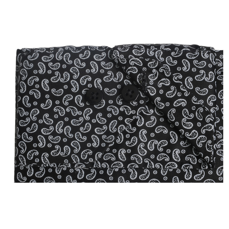 Pin Collar Black Paisley Shirt