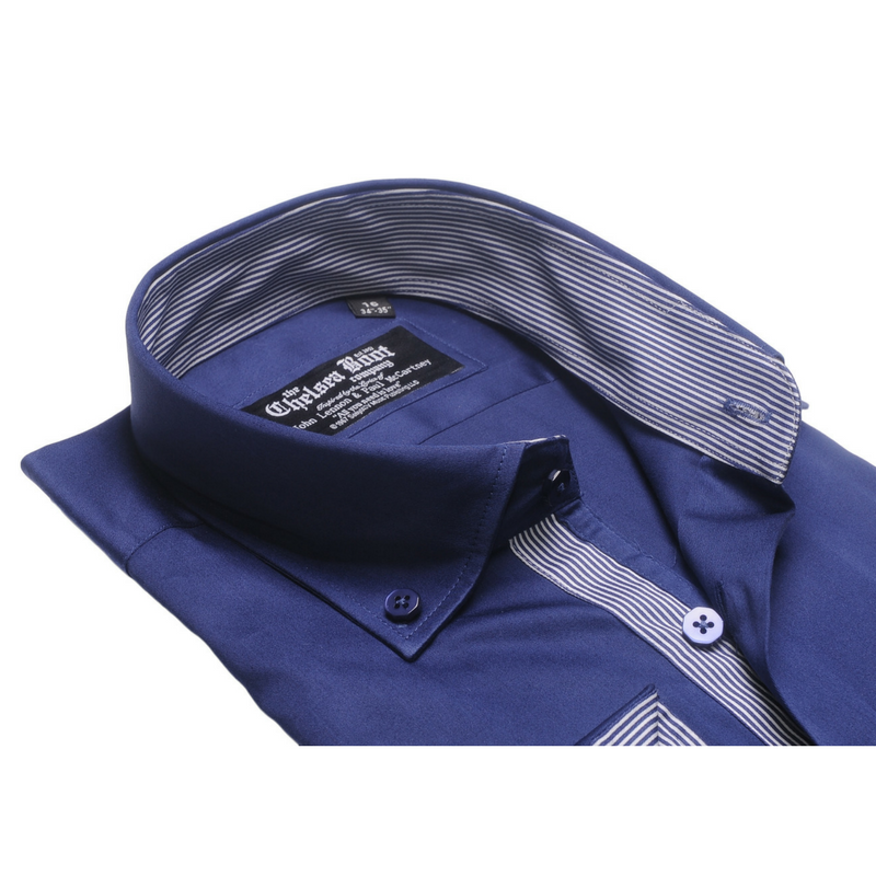 Button Down Collar Navy Blue Shirt