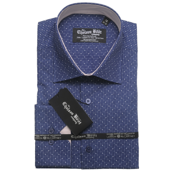 Regular Collar Blue Pattern Shirt