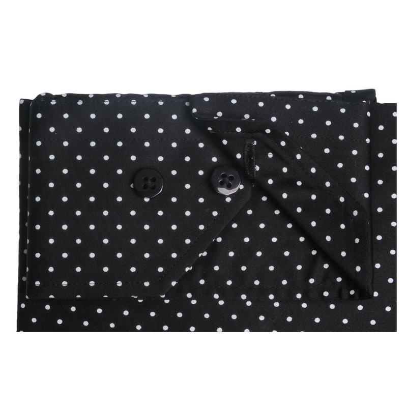 Pin Collar Black Polkadot Shirt