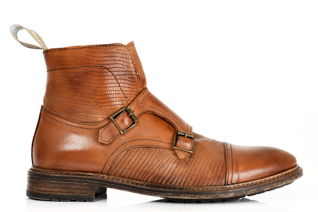 Double Buckle, Monk Strap boot Brown