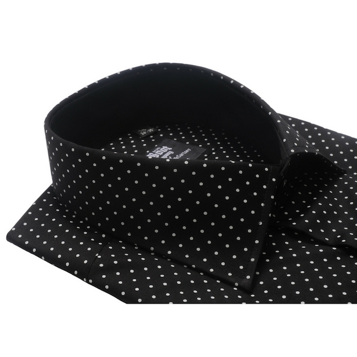 Regular Collar Black Polkadot Shirt