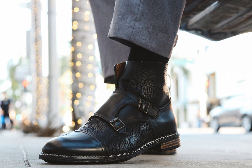 Double Buckle, Monk Strap boot Black