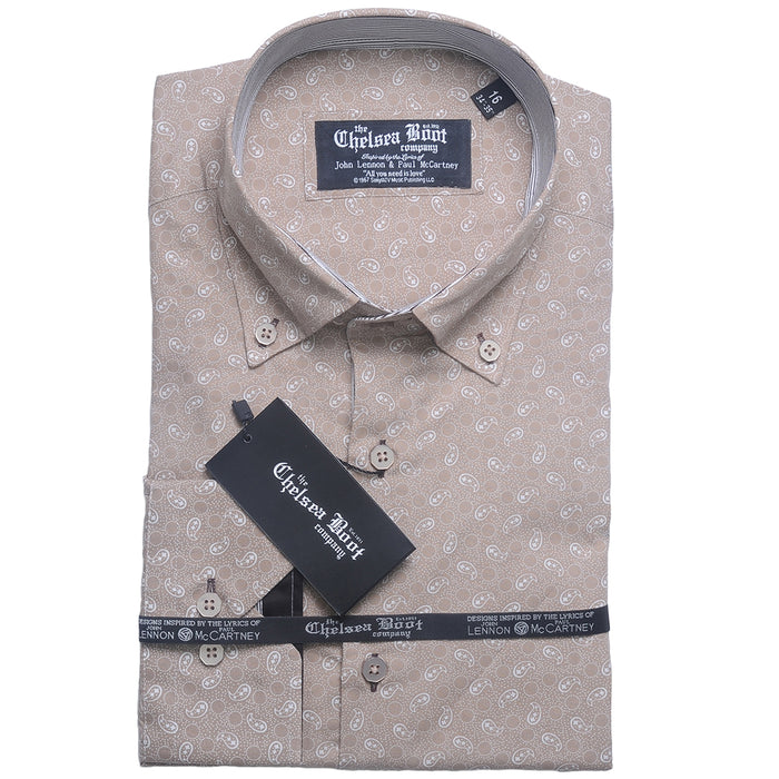 Button Down Collar Beige Paisley Shirt