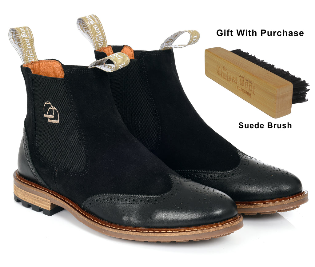 The Two Tone Brogue Chelsea Boot Black