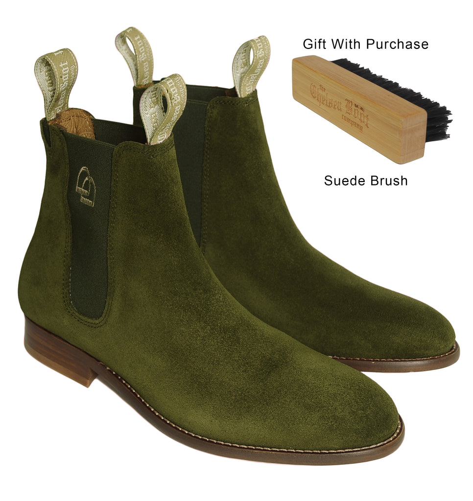 Women's Classic Chelsea Boots Suede Olive
