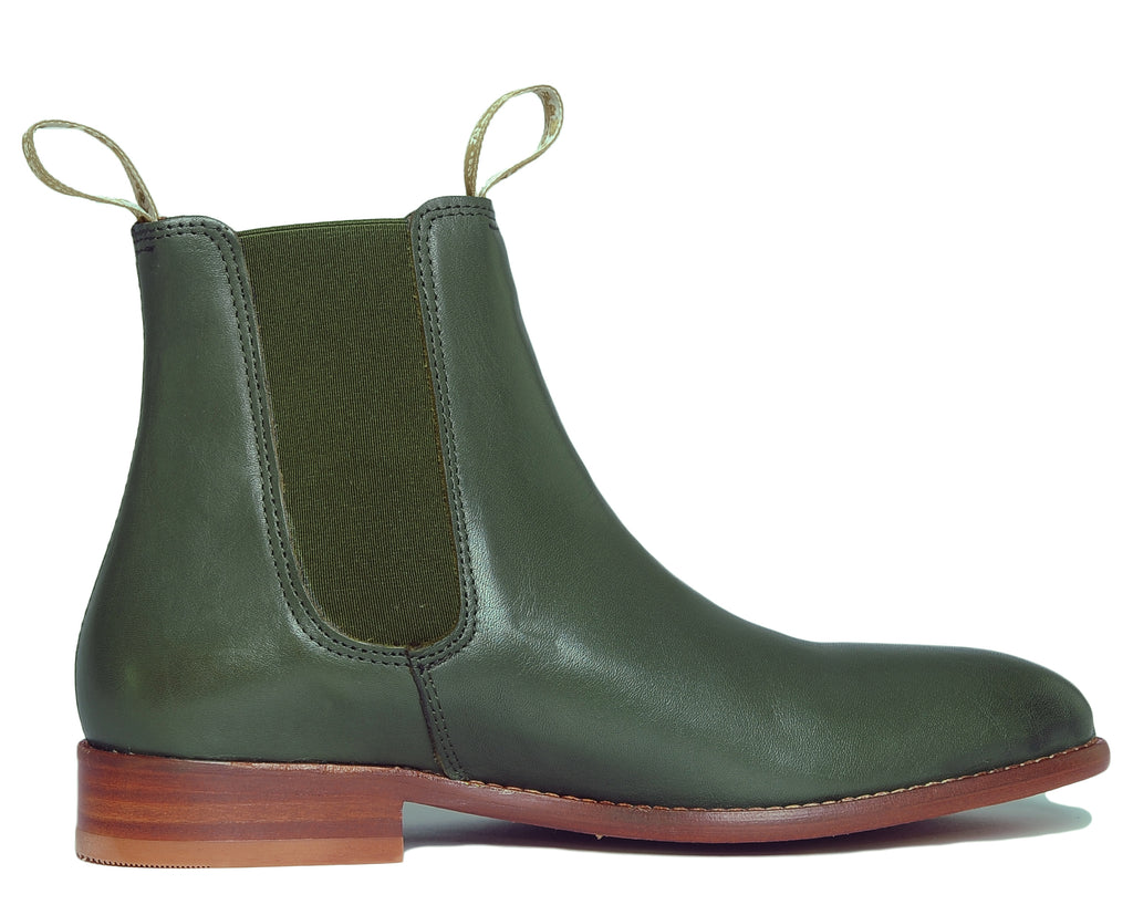 Women's Classic Chelsea Boots Leather Olive