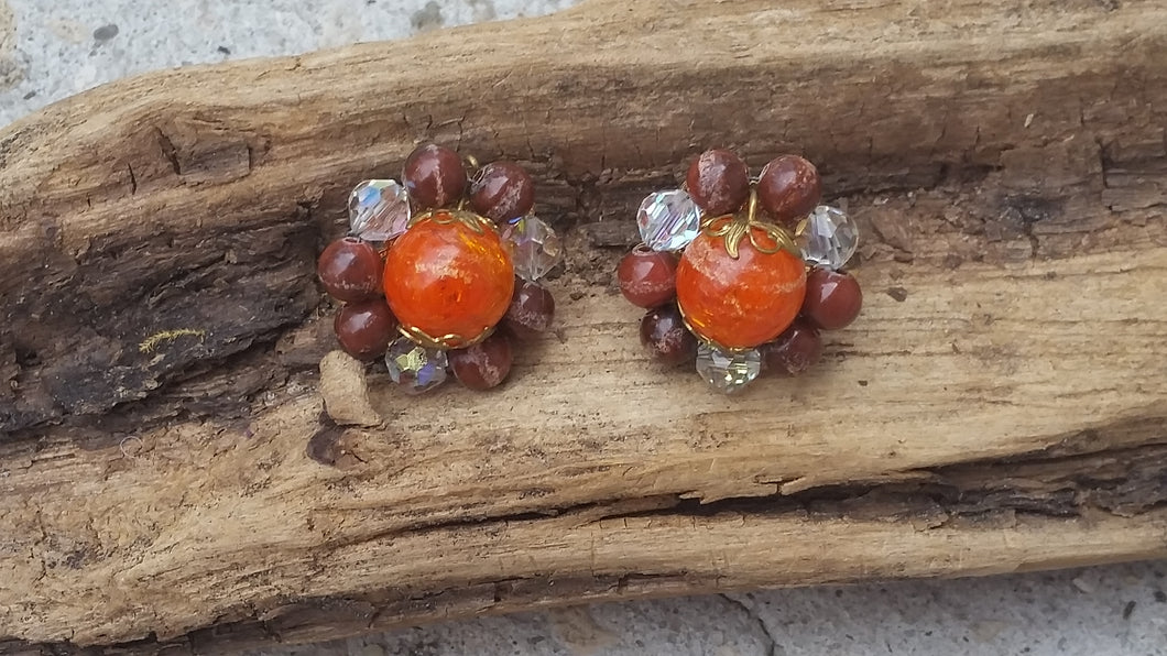 Austrian crystal orange crackle glass clip on vintage earrings fall jewelry