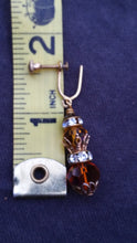 Amber aurora borealis AB Austrian crystal and rhinestone accented drop vintage screw back earrings