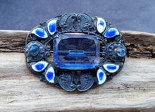 Sterling silver Art Nouveau Czech art glass paste enamel guilloche brooch