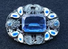 Neiger Brothers Sterling silver blue paste leaf and berry enamel brooch