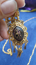 Arthur Pepper Vintage Signed Art Zodiac festoon gold toned purple necklace