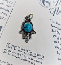 Hamsa sterling silver blue stone vintage pendant for protection