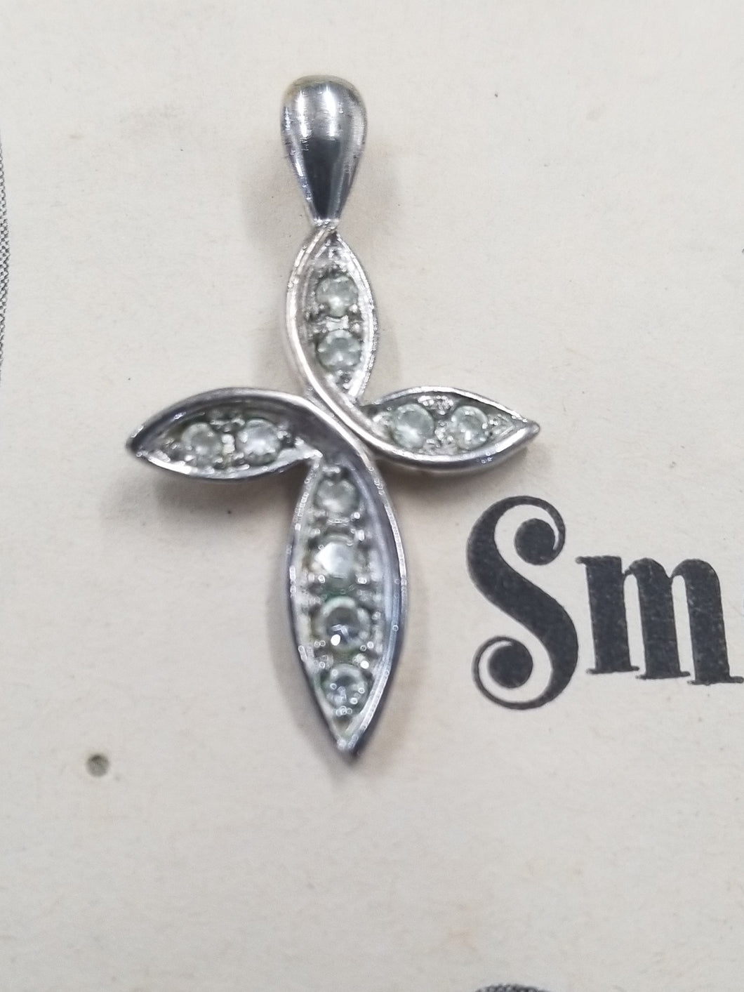 Sterling silver cubic zirconia pave set cross pendant