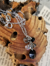 Aurora Borealis Black and white Austrian Crystal drop sterling silver necklace