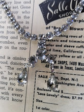 Teardrop vintage rhinestone princess necklace with safety chain