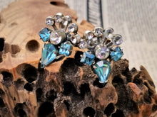 Art Deco Aqua blue tear drop and princess cut cluster Sterling silver screw back vintage earrings