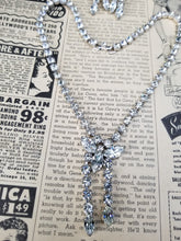 Stunning marquis clear rhinestone demi parure vintage necklace and screw back earrings set