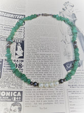 Green Aventurine chip sterling silver and pearl beaded necklace