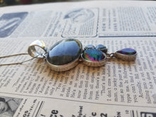 Flashy Labradorite, mystic topaz, druzy, aquamarine and quartz sterling silver SJ925 necklace