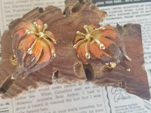 Vintage Denise signed Autumn fall sugared mid century clip on earrings